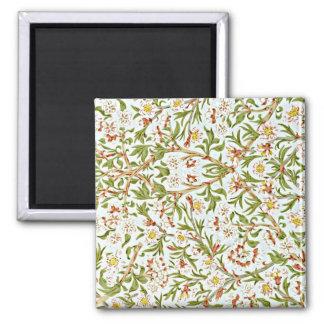 Morris - Delicate Floral Blossom Pattern Square Magnet