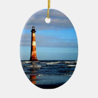 Morris Island Lighthouse Folly Beach Ceramic Ornament