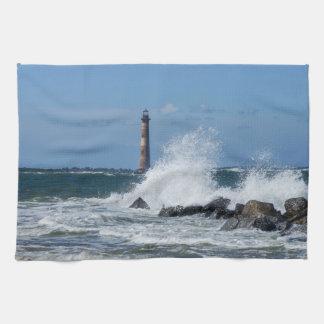 Morris Island Lighthouse Splash Kitchen Towel