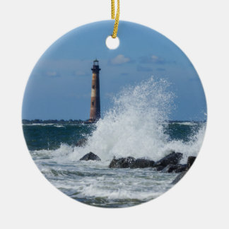 Morris Island Lighthouse Splash Round Ceramic Ornament