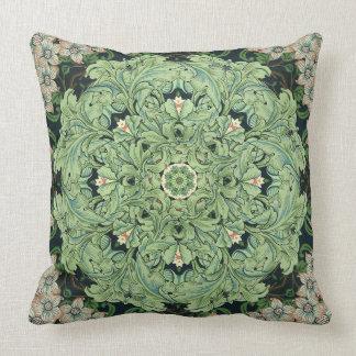 Morris Leaf and Flower Mandala Decor Pillow