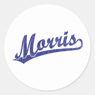 Morris script logo in blue classic round sticker