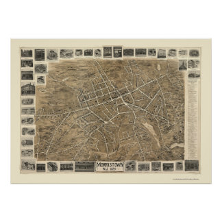 Morristown, NJ Panoramic Map - 1899 Poster
