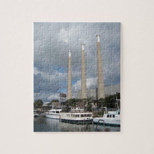 Morro Bay Fishing Boats and Smokestacks Jigsaw Puzzle