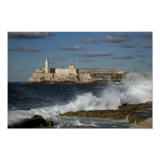 Morro Castle, Havana, Cuba, Crashing Waves Poster