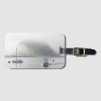 Morro Rock in fog luggage tag