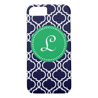 Morrocan Custom Monogram in Navy and Kelly Green iPhone 8/7 Case