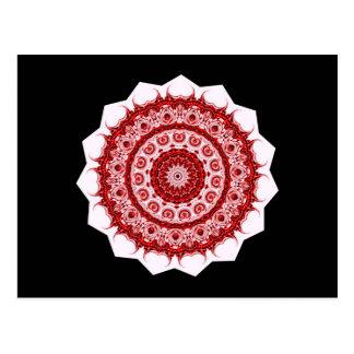 Morrocco red and white tile design postcard