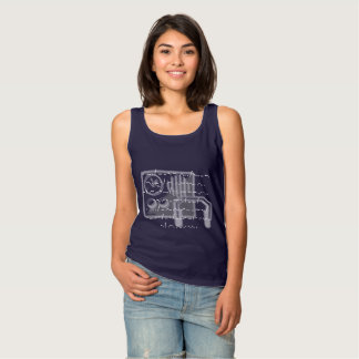 Morse code GB Shaw quote ladies navy tank top