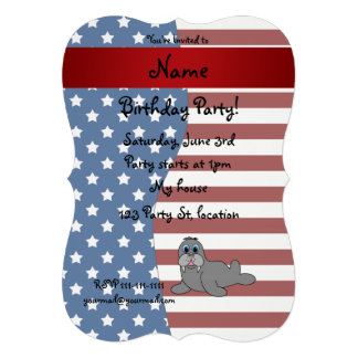 Morse patriotique nommé personnalisé cartons d'invitation