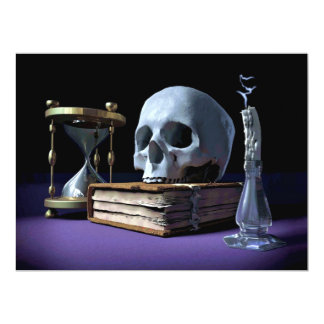 MORTALITY! (skull, tome, candle & hourglass) ~ Card