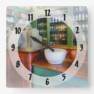 Mortar and Pestle in Pharmacy Square Wall Clock