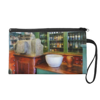 Mortar and Pestle in Pharmacy Wristlet Clutches