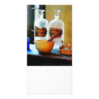 Mortar and Pestle With Bottles Photo Card Template