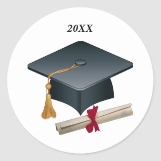 Mortar & diploma Graduation Seal Round Sticker