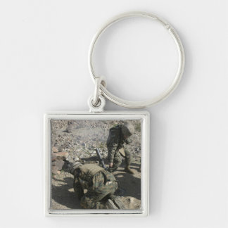 Mortarmen cover their ears and avert their eyes Silver-Colored square keychain