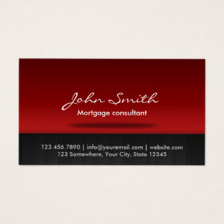Mortgage Agent Professional Red Business Card