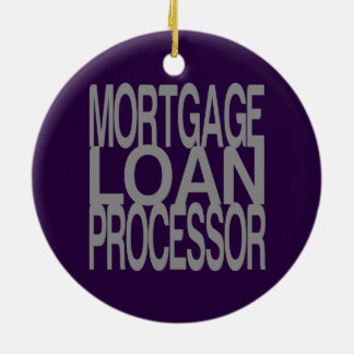 Mortgage Loan Processor in Tall Silver Text Ceramic Ornament