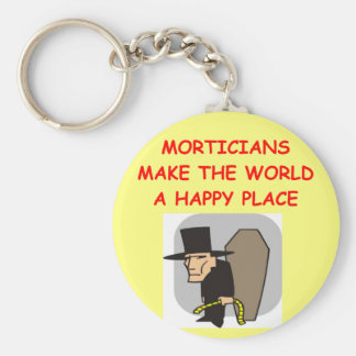 mortician basic round button keychain