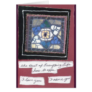 Mosaic 6 Hearts Star w/Evil Eye Hand Written Card