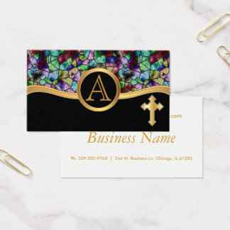 Mosaic Abstract Stain Glass | Golden Cross Business Card