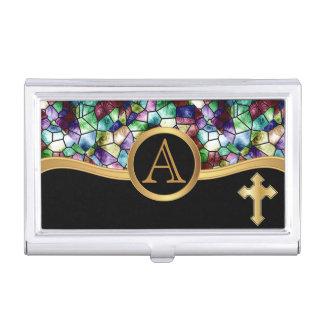 Mosaic Abstract Stain Glass | Golden Cross Business Card Holder
