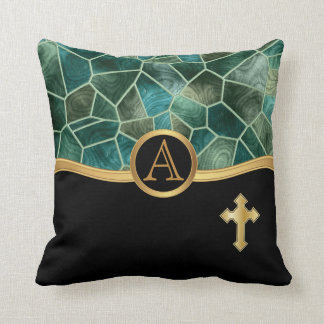 Mosaic Abstract Stain Glass with Cross Throw Pillow