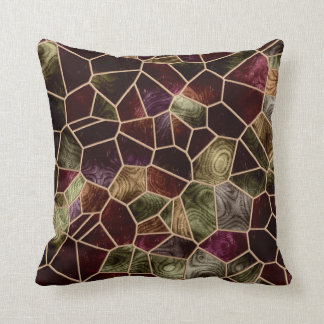Mosaic Abstract Stained Glass Throw Pillow