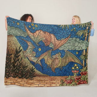 Mosaic Bats Fleece Blanket