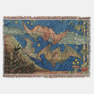 Mosaic Bats Throw Blanket