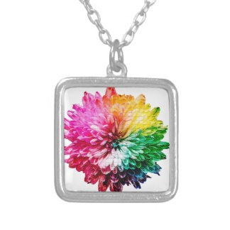 Mosaic Beautiful Multicoloured Flower Silver Plated Necklace