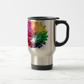 Mosaic Beautiful Multicoloured Flower Travel Mug