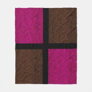Mosaic Blocks Of Pink And Brown, Fleece Blanket