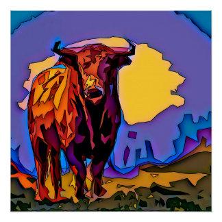 Mosaic Bull Poster