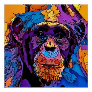 Mosaic Chimp Poster