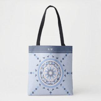 Mosaic country blues mandala monogram tote bag