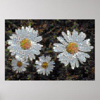Mosaic Daisies 10 Poster