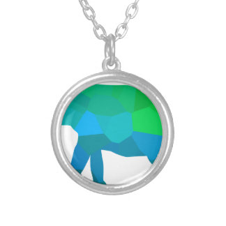 Mosaic Elephant 1 Silver Plated Necklace