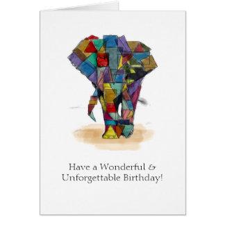 Mosaic Elephant Birthday Card