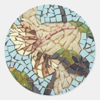 Mosaic flower classic round sticker