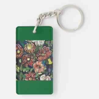 """Mosaic Garden"" Double-Sided Rectangular Acrylic Keychain"