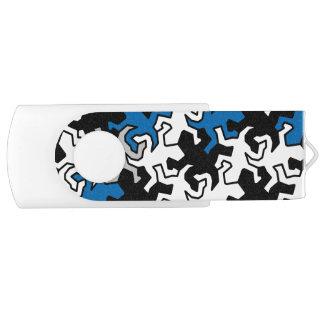 Mosaic Geckos Pattern - blue black white grey Swivel USB 2.0 Flash Drive