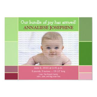 Mosaic Green Designer Baby Birth Announcement