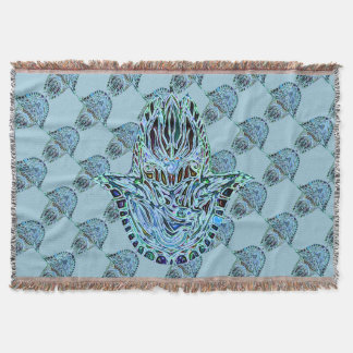 Mosaic Hamsa Hand Throw Blanket