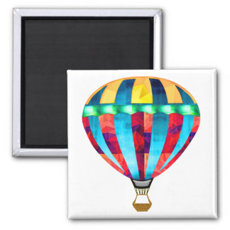 Mosaic Hot Air Balloon in Red, Yellow & Blue Square Magnet