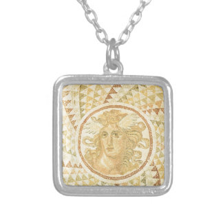 Mosaic in Athens, Greece Silver Plated Necklace