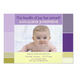 Mosaic Lilac Designer Baby Birth Announcement