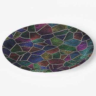 Mosaic Lora, multicolor 9 Inch Paper Plate