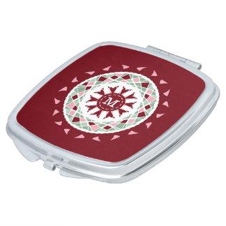 Mosaic mandala burgandy pink green monogram vanity mirror