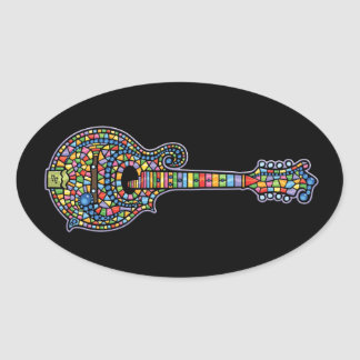 Mosaic Mandolin Oval Sticker